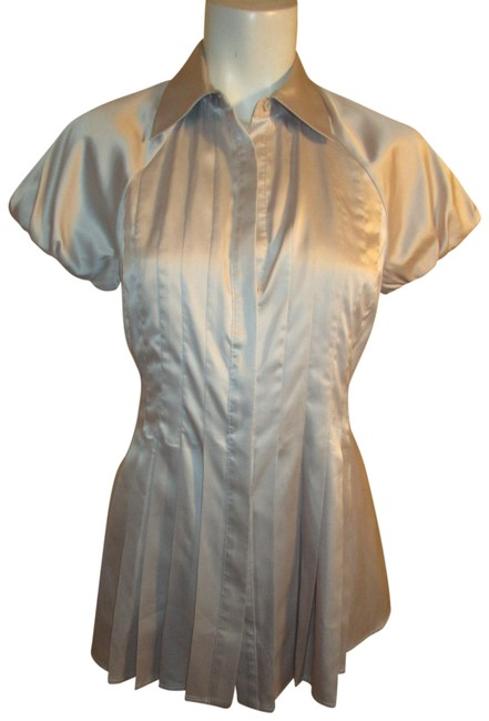 Item - Silver/Grey Silky Short Sleeve Button Down Blouse Size 4 (S)