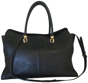 Tod's Leather Detachable Strap Tote Satchel in Black