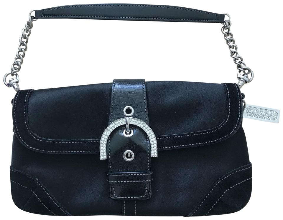 b6d8671f1e8c Coach Cocktail Black Satin Leather Suede Clutch - Tradesy