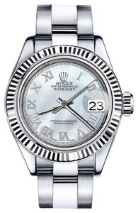 Rolex Men's Rolex 36mm Datejust White MOP Mother Of Pearl Roman Numeral Dial