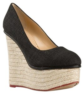Charlotte Olympia Platform Espadrille Navy Canvas Fall Blue Wedges