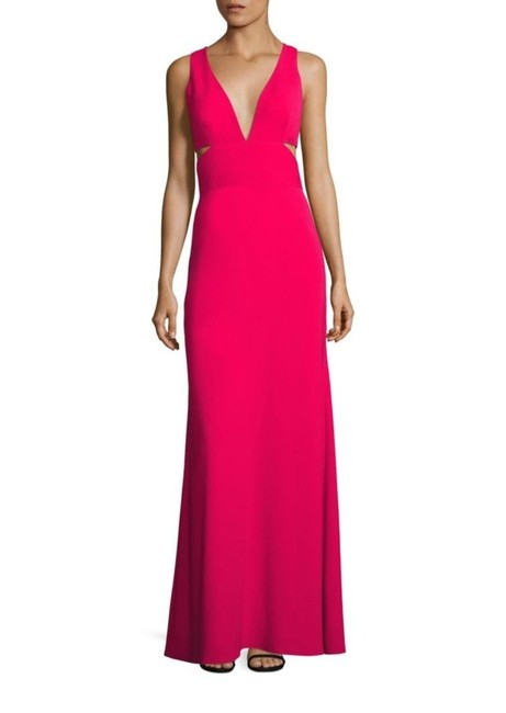 Item - Red Deep V-neck Cutout Gown Long Cocktail Dress Size 12 (L)