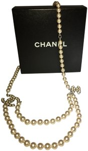 "Chanel Chanel ""Heart"" Crystal Pearl CC Belt/Necklace Silver 04V"