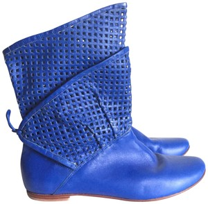 Candela Geometric Perforated Leather Bright Blue Boots
