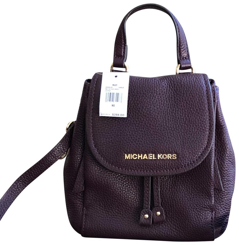 0036447a9548 Michael Kors Riley Small Flap Pack Handbag Damson Pebbled Leather Cross  Body Bag
