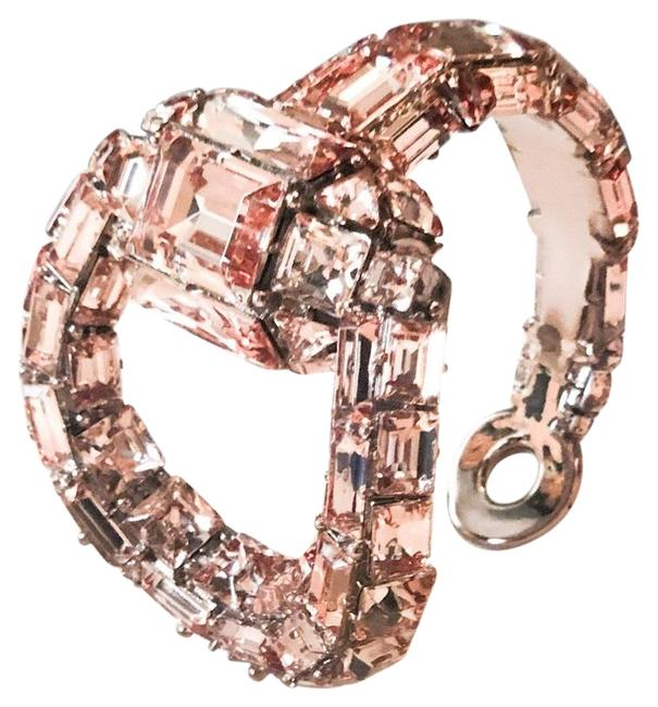 Item - Pink Horsebit Runway Crystal Bangle Cuff Bracelet