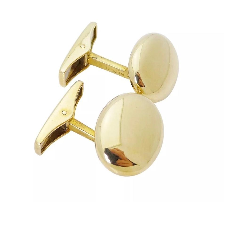 db349edfb3bb1 Tiffany & Co. Co 18k Yellow Gold German Polished Oval Cufflinks with Pouch
