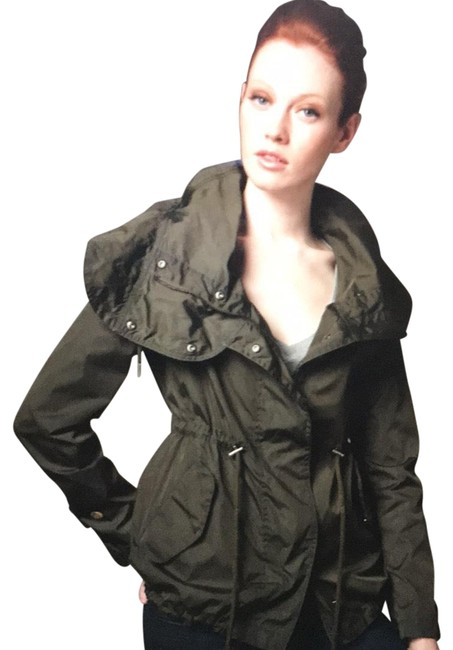 Item - Military Green Nylon Drawstring Rain Jacket Coat Size 4 (S)