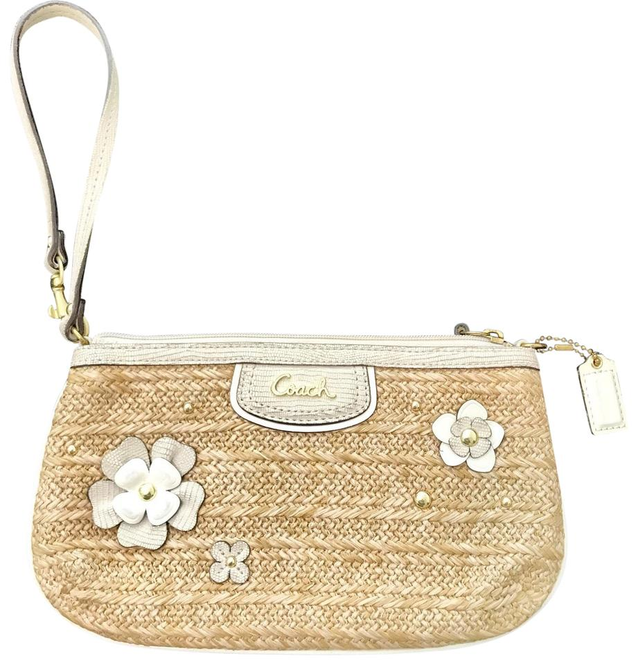 53a7f09d1bb2 Coach Parchment Floral Natural with Off White Trim Straw Leather ...