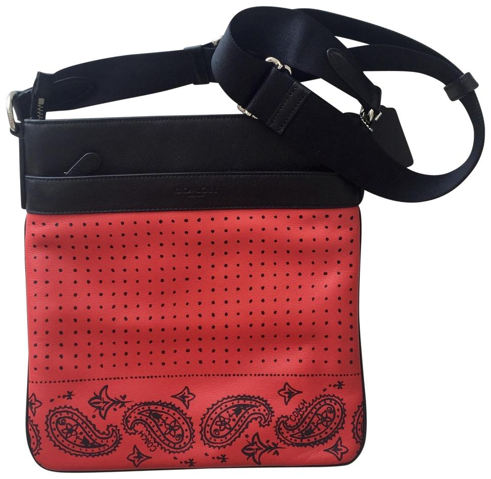 d34e2b23f393 Coach Bandana Charles Black Red Leather Cross Body Bag - Tradesy