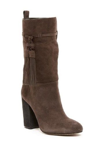 Vince Camuto Suede Leather Slouch Tassels Grey Boots Image 6