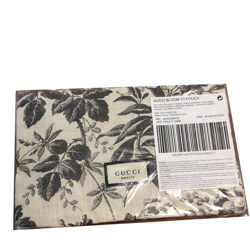 475ad60443a Gucci Bloom Beauty Makeup Magnetic Soft Pouch White Black Cotton ...