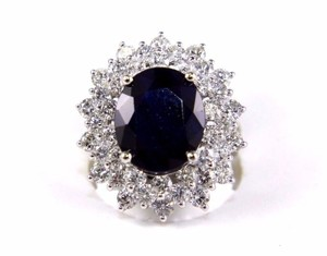 Other Oval Cut Blue Sapphire Cocktail Ring w/Diamond Halo 14k WG 9.88Ct
