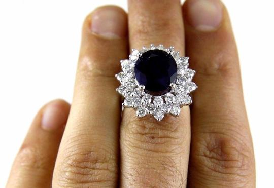 Other Oval Cut Blue Sapphire Cocktail Ring w/Diamond Halo 14k WG 9.88Ct Image 3
