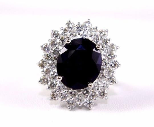 Other Oval Cut Blue Sapphire Cocktail Ring w/Diamond Halo 14k WG 9.88Ct Image 4
