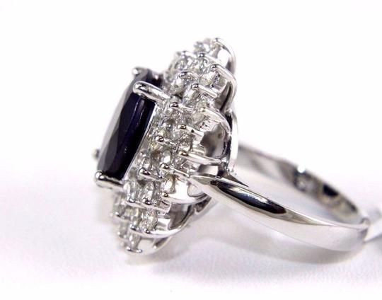 Other Oval Cut Blue Sapphire Cocktail Ring w/Diamond Halo 14k WG 9.88Ct Image 5