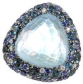 Other Trillion Blue Topaz Ring w/Diamond & Sapphire Halo 18k WG 28.76Ct