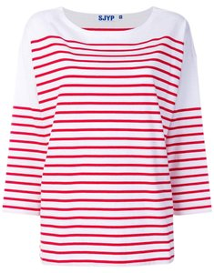 SJYP Striped T-shirt Designer T Shirt Red
