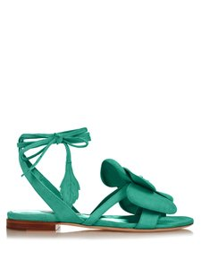 Olgana Paris Dahlia Flower Flats Green Sandals