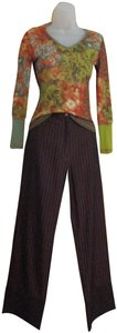 Anna Kaszer Made In France Stove Wide Leg Pants iridescent brown with black piping stripes