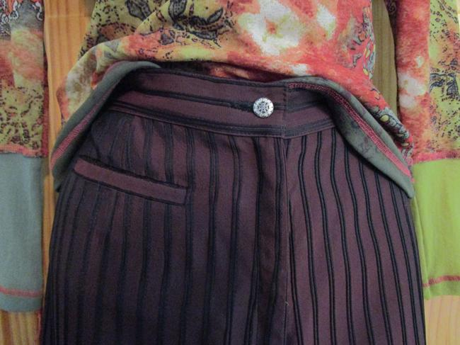 Anna Kaszer Made In France Stove Wide Leg Pants iridescent brown with black piping stripes Image 1
