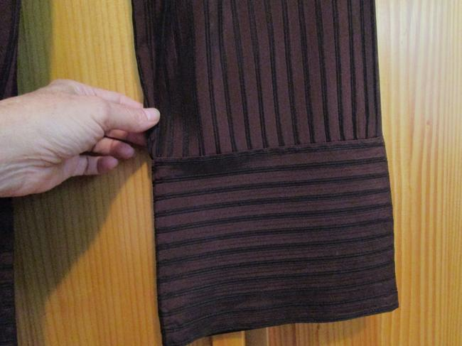 Anna Kaszer Made In France Stove Wide Leg Pants iridescent brown with black piping stripes Image 2