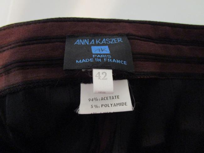 Anna Kaszer Made In France Stove Wide Leg Pants iridescent brown with black piping stripes Image 3