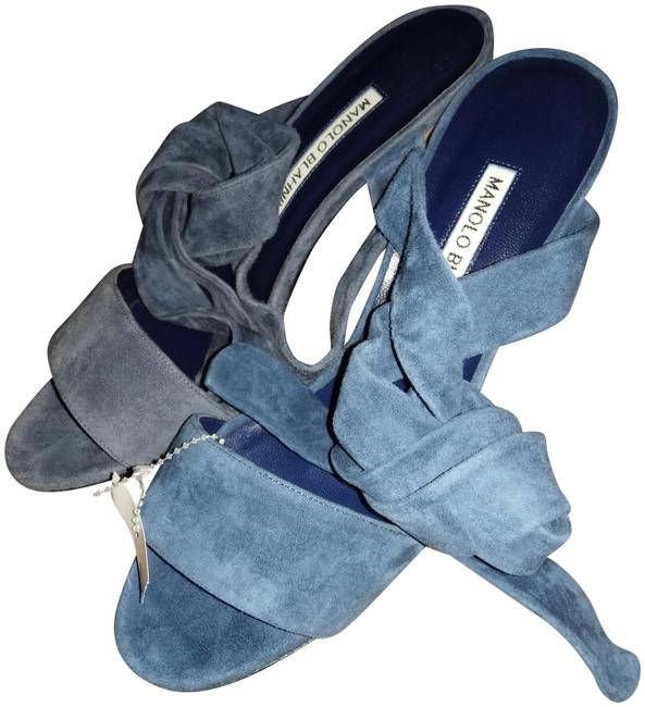 Item - Blue New Made In Italy Tondala Suede Sandals Size EU 37 (Approx. US 7) Regular (M, B)