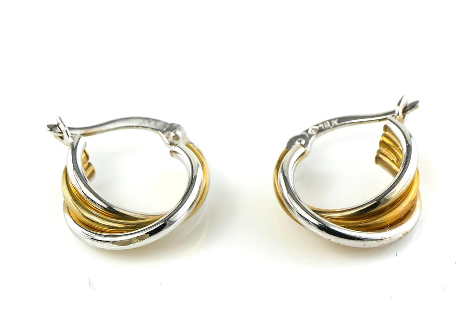 18k Solid White And Yellow Gold Two Tone Earrings