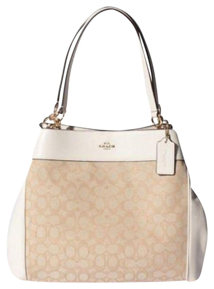 5c8d8e0bff Coach Lexy - F27579 In Outline Signature Light Sv Lt Khaki Lt Pink Jaquard  Fabric and Leather Shoulder Bag