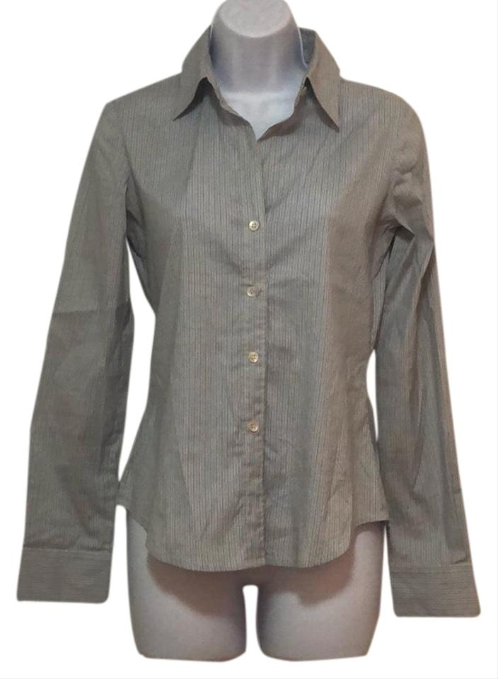 1d7ed37ad7f77 Theory Blue Fitted Button Up Striped Collared Shirt Button-down Top ...