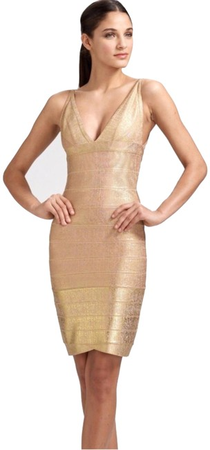 Item - Gold Mid-length Night Out Dress Size 6 (S)