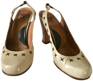 John Fluevog Slingback Patent Leather Beige Pumps
