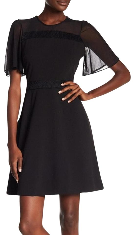 Kensie Black Bell Sleeve Lace Insert Short Cocktail Dress Size 10 M