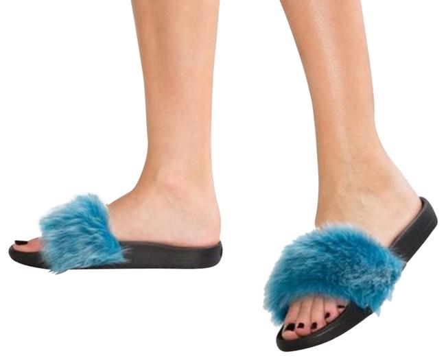 Item - Blue Black Royale Tipped Mules/Slides Size US 9 Regular (M, B)