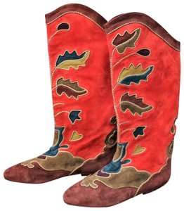 Andrea Pfister Couture Suede Vintage Neiman Marcus Leather Applique red Boots