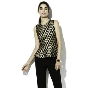 Vince Camuto Peplum Holiday Top Black and Gold