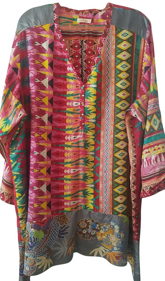 d23c5d49199e05 Johnny Was Pink Silk Multicolor Long Button Front Tunic Size 22 ...