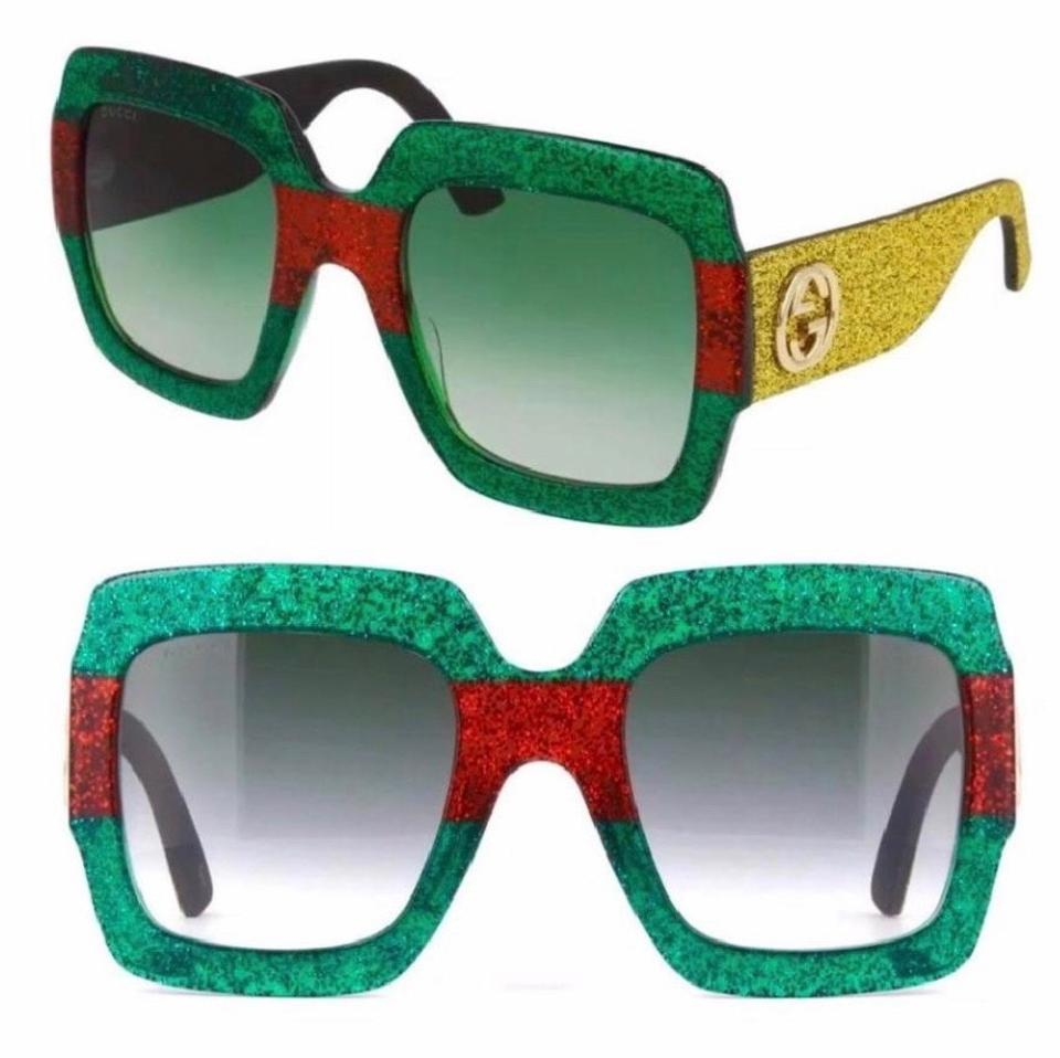 a22a983179dd4 Gucci Green Red Yellow Square Oversized 54mm Gg0102s 006 Sunglasses ...