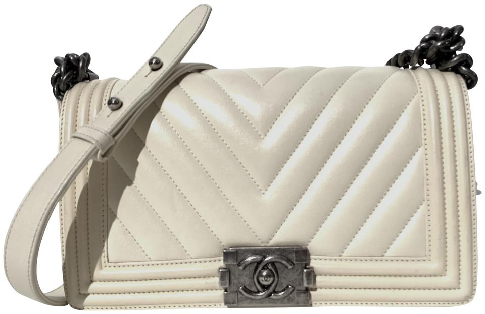 54f1c71c1e684c Chanel Boy Medium Chevron Cream Calfskin Leather Cross Body Bag ...