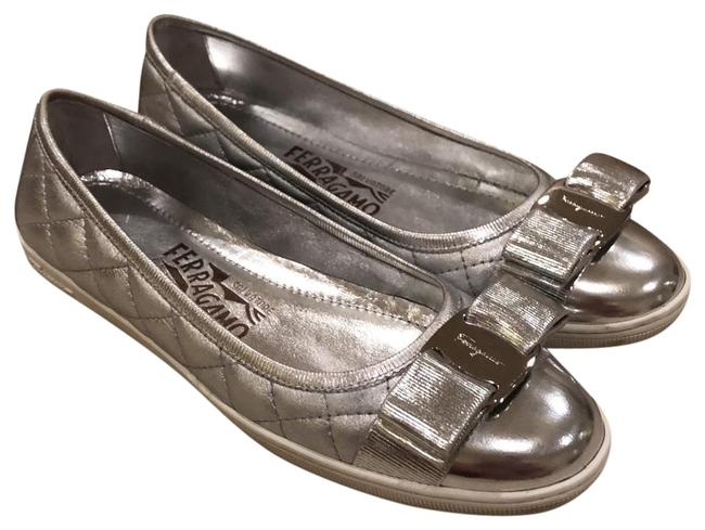 Item - Silver Rufina Quilted Cap Toe Leather Flats Size US 5 Regular (M, B)