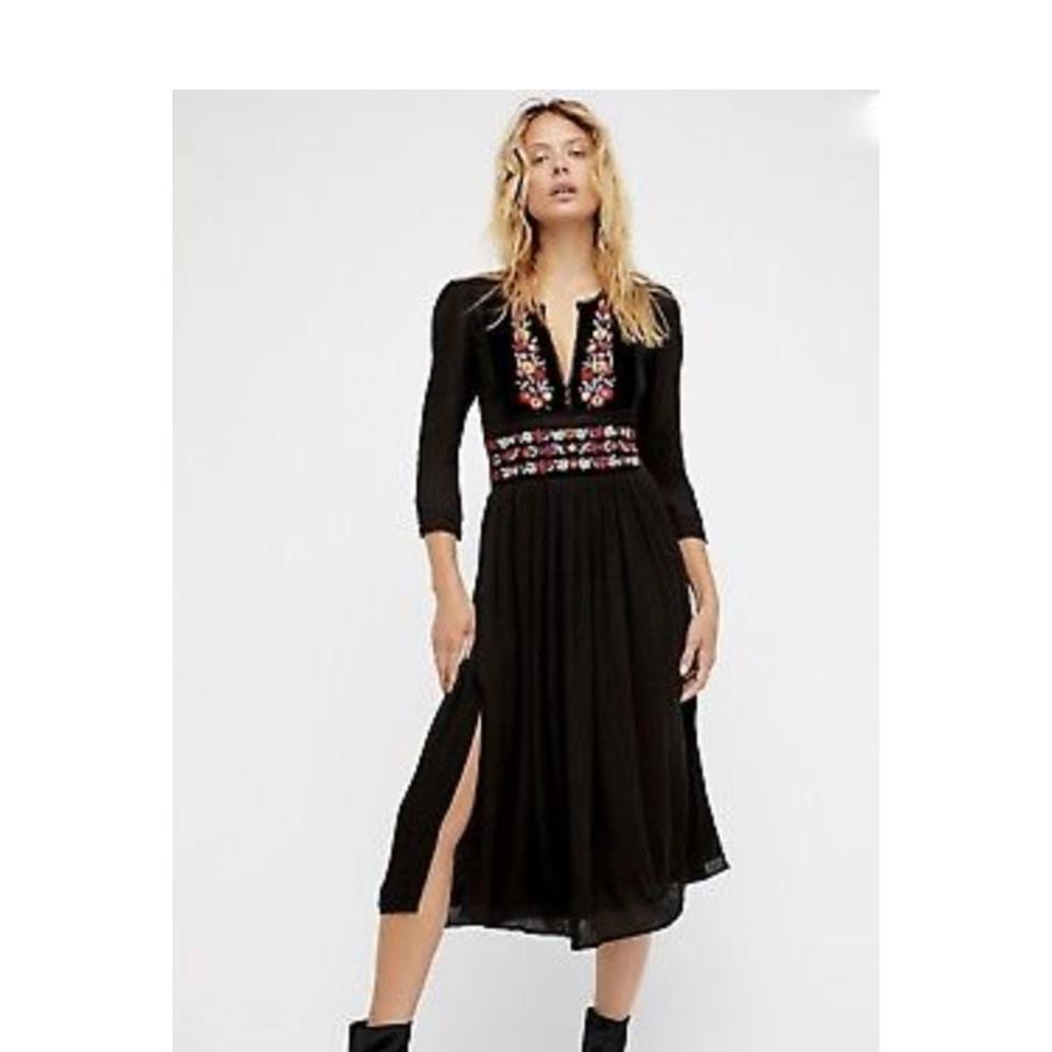 f0dbca1153 Free People Black Floral Embroidered On Velvet Trim Fit & Flare Midi Casual  Maxi Dress