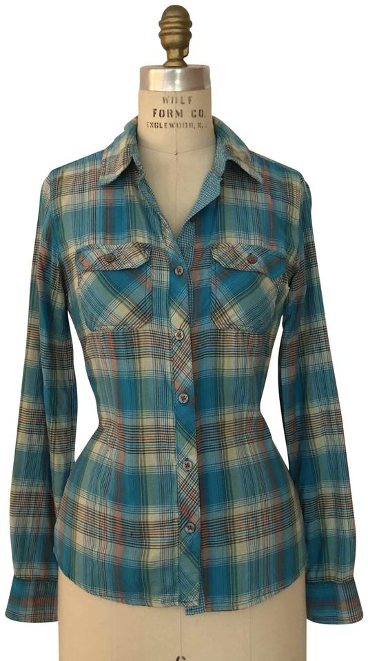 fc6934879cf2b Marmot Green / White Plaid Evelyn Long Sleeve Button-down Top Size 2 ...