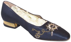 St. John Almond Toes Nautical Theme Mint Condition Gold Metal Heels navy blue satin and leather Flats