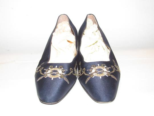 St. John Almond Toes Nautical Theme Mint Condition Gold Metal Heels navy blue satin and leather Flats Image 1