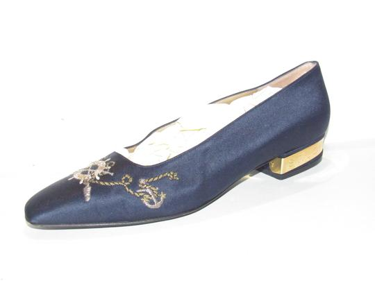 St. John Almond Toes Nautical Theme Mint Condition Gold Metal Heels navy blue satin and leather Flats Image 10