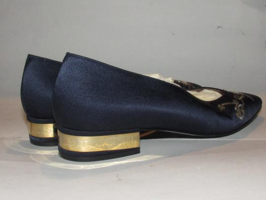 St. John Almond Toes Nautical Theme Mint Condition Gold Metal Heels navy blue satin and leather Flats Image 11