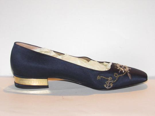 St. John Almond Toes Nautical Theme Mint Condition Gold Metal Heels navy blue satin and leather Flats Image 2