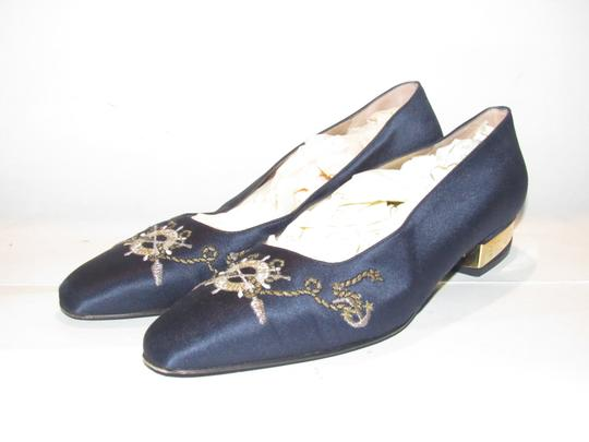 St. John Almond Toes Nautical Theme Mint Condition Gold Metal Heels navy blue satin and leather Flats Image 3