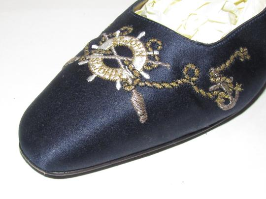 St. John Almond Toes Nautical Theme Mint Condition Gold Metal Heels navy blue satin and leather Flats Image 6